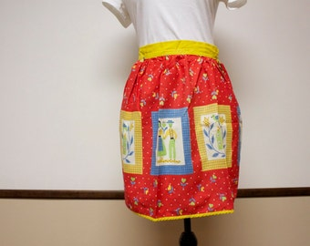 Vintage Half Apron - 1950s red blue and yellow Folk Art Apron