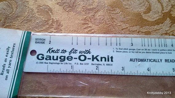 Vintage Gauge-O-Knit Ruler to check your knitting gauge. In