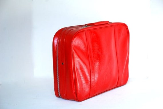 Mod Red Patent Suitcase