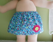 Aqua Floral Corduroy Skirt -  Waldorf Doll Clothes  - Bambo Size 15 Inch  - G