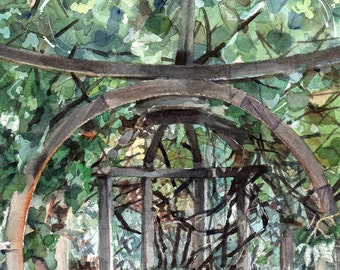 Gazebo Watercolor Print- Greenery- Green Leaves- Terracotta- Summer Garden- Realistic Landscape- 7x10- Vertical