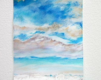 Turquoise Sky Drawing- Original Realistic Art- White Clouds- Blue Sky- 5x7- Inverted- Colored Pencil- Watercolor- Boulder Colorado- Vertical