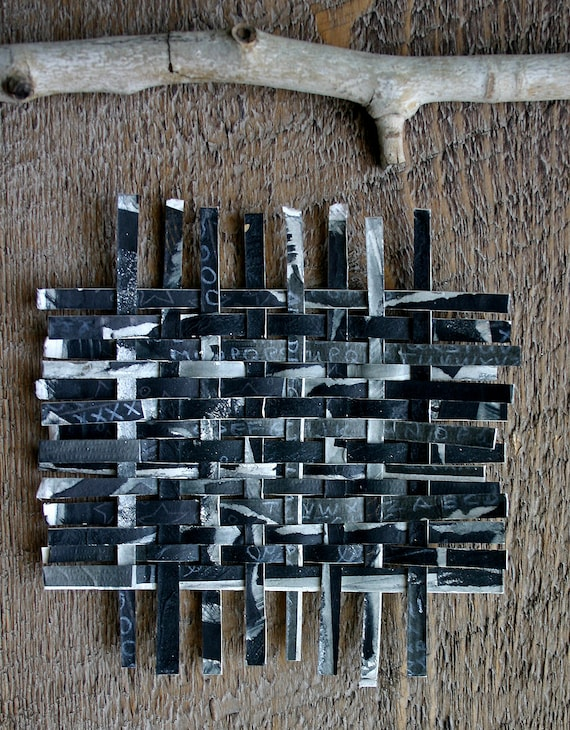 Black Paper Weaving- Mixed Media Abstract Original- Alphabet Metallic Accents