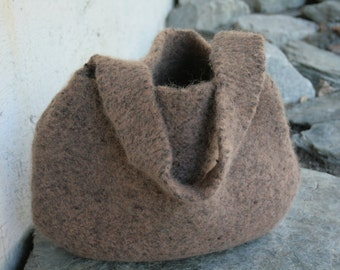 Different Shades of Brown Felted Slouchy Bag