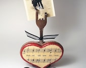 FADED LOVE LETTERS, recycled fork photo holder, wooden heart, vintage sheet music, wedding, engagement, anniversary