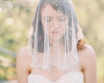 Wedding Veil, Short Veil, Bridal Veil, Crystal Veil, Asymmetrical Veil, Blusher Veil, Short Blusher Veil, Swarovski crystal - Style 201