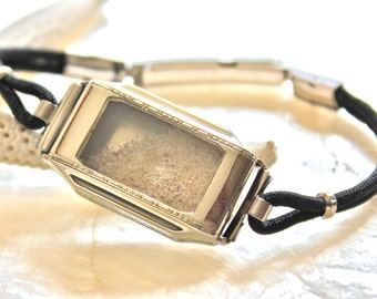 Sands of Time - Shake Bracelet with Sand- Vintage Engraved Art Deco Ladies Wrist Watch - 14kt White Gold Fill - Eco Friendly -THE ORIGINAL