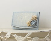 Petite Blue and Gold Metallic Linen Envelope Clutch with Roses, Wedding Clutch, Formal Clutch