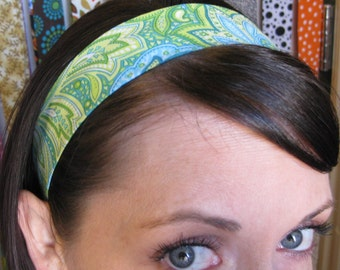 Green and Light Blue Paisley- Stay Put Headband
