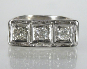 Antique Old European Cut Diamond Wedding Ring