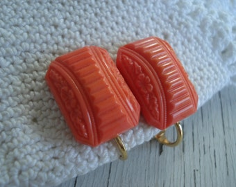 Vintage Art Deco Coral Pressed Jade Glass Gold Clip Earrings Geometric Floral Autumn Fall