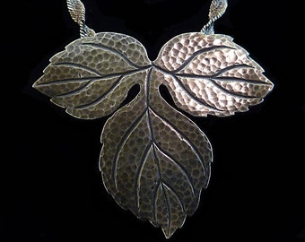 Vintage 40s 1940s Sterling Silver Stylized Grape Leaf Dress Pin // Converts to Pendant on Sterling Silver Italian Rope Chain //