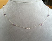 Pearl and Amethyst necklace -- Hand-knotted Silk and Sterling Silver