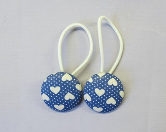 "1 1/8"" Size 45 Blue/Ivory Pin Dots and Hearts Fabric Covered Button Hair Tie / Ponytail Holder / Party Favor (Set of 2)"