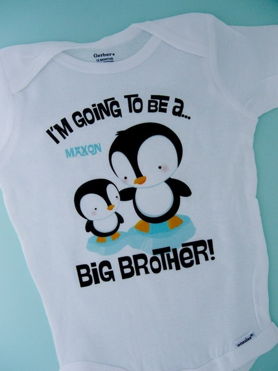 Penguin I M Going To Be A Big Brother Onesie Big Brother
