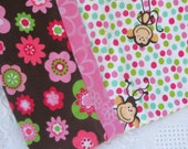 Cozy Monkey Flannel Pillowcase - pink and brown and green