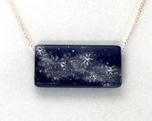 Starry Night Necklace Night Sky Midnight Blue Stars Sparkly Stars Necklace One of a Kind with Crystals