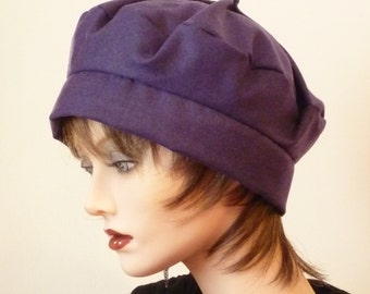 Ladies Purple Fabric Cloche Hat