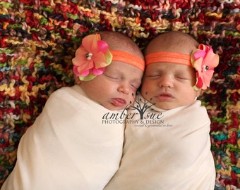 Baby headband,Flower Headband,Baby Flower Headband,Orange Headband,Photography Prop,Infant Headband,Newborn headband,Jeanette Headband