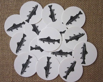 Fish Trout Tags Round Paper Gift Tags Set of 10