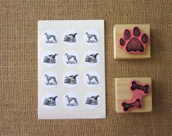 Greyhound Dog Stickers One Inch Round Seals
