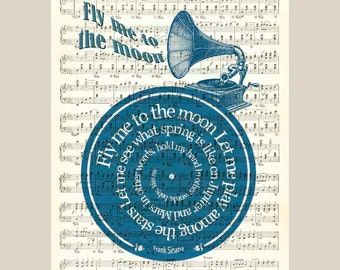 Fly me to the moon Frank Sinatra song lyric art  vinyl record Art Print old sheet music,wall art decorative wall hangings, PRINT 11x14