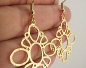 Loopy Sunburst Earrings, Gold Earrings, Unique Earrings, Gold Diamond Circle Earrings, Gift for her, Gift under 25