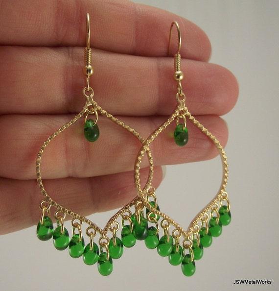 Green and Gold Chandelier Earrings Gold Earrings by ...