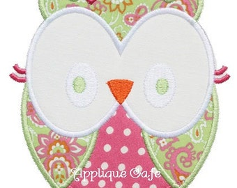 318 Girly Owl Machine Embroidery Applique Design