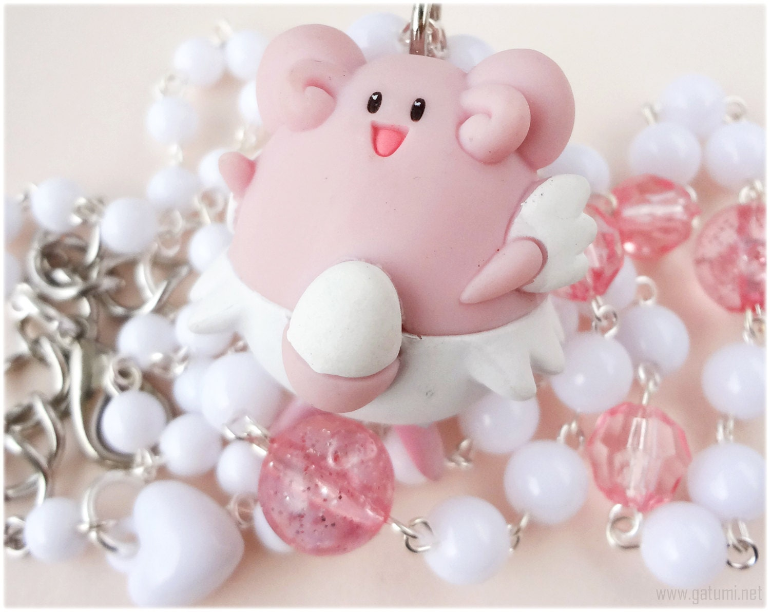 Pokemon Blissey Necklace White and Pink Rosary Chain in