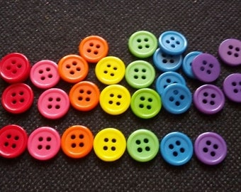 100 pcs Mix rainbow colors 4 holes buttons size 11 mm