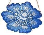 Lace necklace, dark blue navy flower, vintage lace, short simple lace necklace, antique copper chain