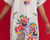 Mexican Long White Dress Very Special Colorful Peacock Embroidered Handmade  Spring / Summer Large