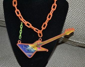 BARBIE, Rocker, Guitar, Necklace, Vintage, Rock and Roll, Jem, Neon, One of a Kind, 80s, Orange