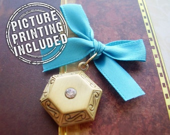 Memorial Locket Photo Charm - Antique Style Brass Hexagon with Rhinestone - Includes Picture Printing Service