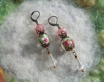 Victorian Rose Earrings with Lamp Work Beads