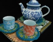 Tea For Two - Crochet Trivet and Two Coaster Set in Sage Green Multi and Teal