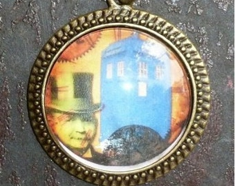 TIME TRAVEL Steampunk Pocket WATCH necklace-Dr Who Tardis
