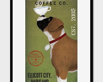 Customizable Personalized - BOXER  Dog Coffee Company FRAMED 10x20 art giclee print in 18x28 Custom Frame SIGNED Brindle and Cropped