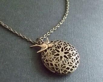 Brass Locket Necklace, Keepsake, Bird Jewelry, Antiqued Brass, Gift for, Her, Mother's Day, Birthday
