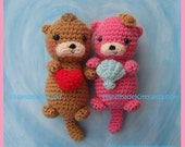 Otter Couple Floating in Love Amigurumi PDF Crochet Pattern by HandmadeKitty