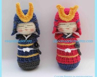 Samurai Kokeshi Amigurumi PDF Crochet Pattern by HandmadeKitty