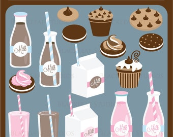 Milk and Cookies Clip Art Instant Download - baby shower, scrapbook, graphics, digital, png, vector - Personal and Commercial Use Clipart