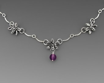 Three Orchid Sterling Silver Necklace, Amethyst