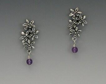 Orchid Cluster Sterling Silver Earrings, Amethyst
