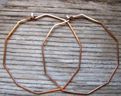 Unusual Hoop Earrings 2 inch - Copper Geometric Hoops - Elegant Polygon Earrings - Handmade Jewelry - Geometric Earrings - Modern Earrings