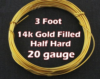 20 gauge 14k Gold Filled Wire 3 Ft. Yellow Half Hard Round Wire for Ear Wires, Earrings, Bangle, Jewelry Making - 0.8mm (1m) for Earrings