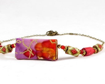 Beaded Necklace Fiber Necklace Textile Necklace Gift for Her Fabric Necklace in Red Purple Magenta Gold Valentines Jewelry Gift for Mom OOAK