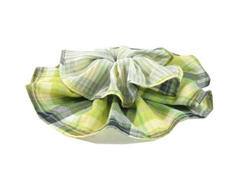 SALE - Plaid Scarf Infinity Scarf Circle Scarf Gift for Her Cotton Spring Scarf Summer Scarf Lightweight Scarf Green Scarf Womens Scarf
