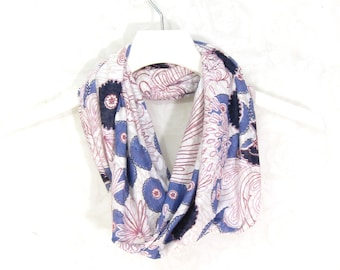 Floral Infinity Scarf Circle Scarf Gift for Her Tube Scarf Spring Cowl Spring Scarf Summer Scarf Lightweight Scarf Womens Scarf Floral Scarf